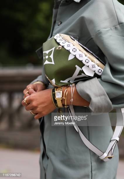 Aylin Koenig wearing The Frankie Shop suit, Louis Vuitton Bag, Dior Sunglasses on June 20, 2019 in Hamburg, Germany.