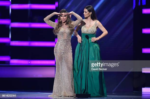 Aylin Mujica and Candela Ferro onstage at the 2018 Billboard Latin Music Awards at the Mandalay Bay Events Center on April 26, 2018 in Las Vegas,...