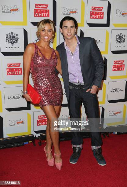 Aylin Mujica and son Mauro Mendez arrive at People en Espanol celebrates The Stars of the Year at SLS South Beach on December 13 2012 in Miami Florida