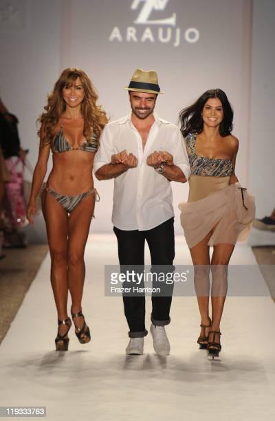 Aylin Mujica Designer AZ Araujo and Adriana de Moura walk the runway at the AZ Araujo show during MerecedesBenz Fashion Week Swim 2012 on July 18...