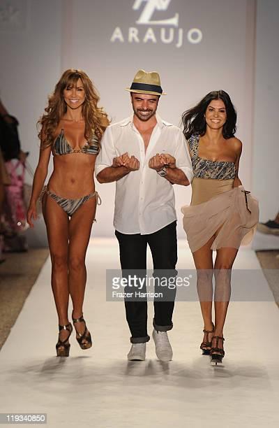 Aylin Mujica Designer AZ Araujo and Adriana de Moura walk the runway at the AZ Araujo show during MercedesBenz Fashion Week Swim at The Raleigh on...