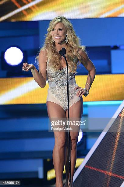 Aylin Mujica on stage at Premios Tu Mundo Awards at American Airlines Arena on August 21, 2014 in Miami, Florida.