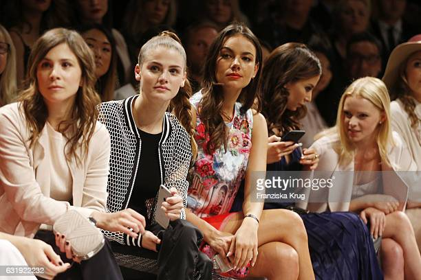 Aylin Teze Jennifer Ulrich and Janina Uhse attend the Marc Cain fashion show A/W 2017 at Deutsche Telekom representation on January 17 2017 in Berlin...