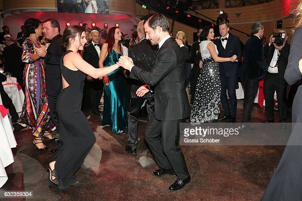 Aylin Tezel and Clemens Schick dance during the 44th German Film Ball 2017 party at Hotel Bayerischer Hof on January 21 2017 in Munich Germany