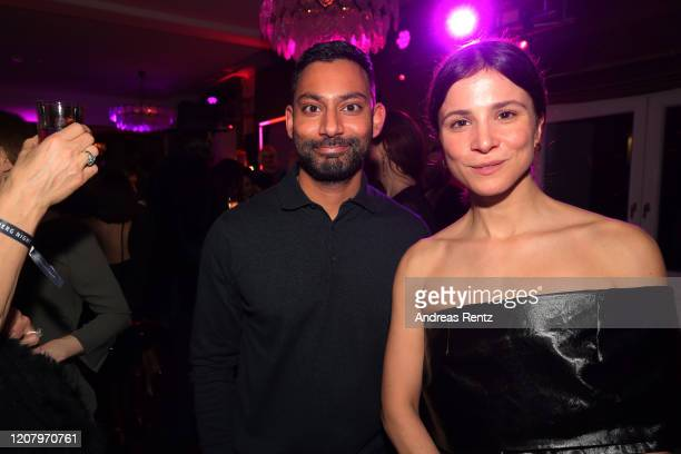 Aylin Tezel and guest attend the Studio Babelsberg Night X Canada Goose on the occasion of the 70th Berlinale at Soho House on February 21, 2020 in...