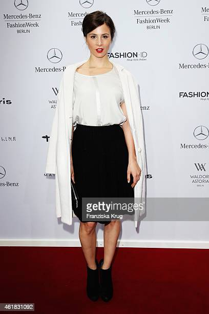 Aylin Tezel attends the Marc Cain show during the MercedesBenz Fashion Week Berlin Autumn/Winter 2015/16 at Brandenburg Gate on January 20 2015 in...