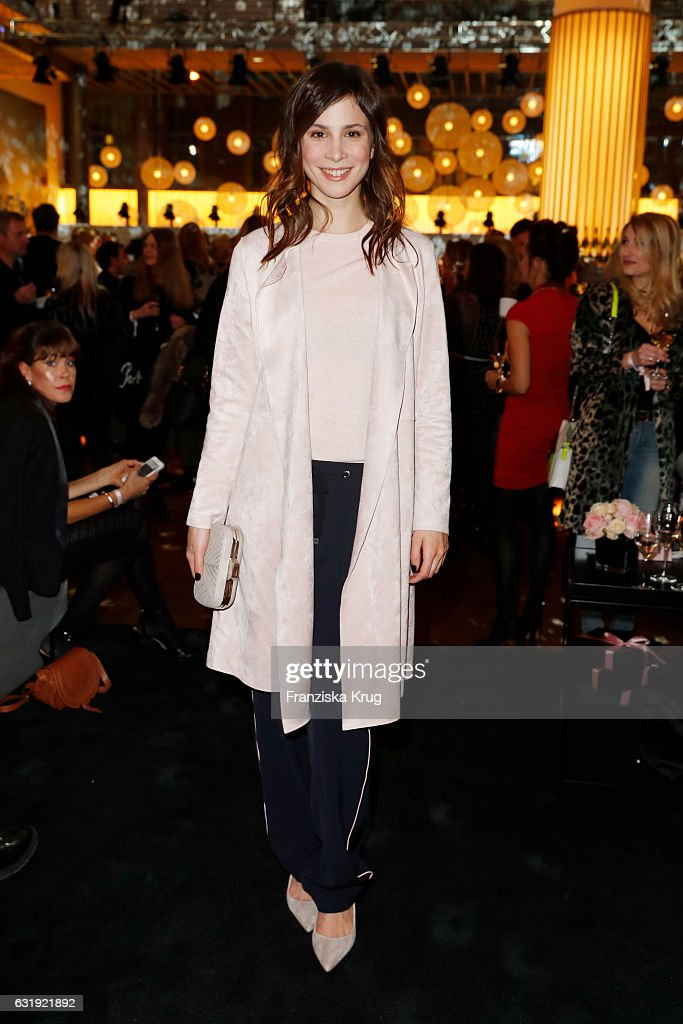 Aylin Tezel attends the VIP cocktail reception after the Marc Cain fashion show A/W 2017 at Deutsche Telekom representation on January 17, 2017 in Berlin, Germany.