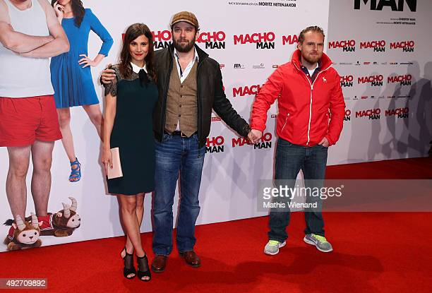 Aylin Tezel Christian Ulmen Axel Stein attends the German premiere of the film 'Macho Man' at Cinedom on October 14 2015 in Cologne Germany
