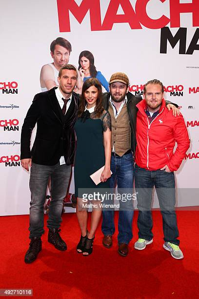 Aylin Tezel Christian Ulmen Axel Stein Lukas Podolski attends the German premiere of the film 'Macho Man' at Cinedom on October 14 2015 in Cologne...