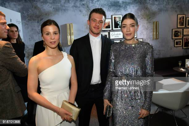 Aylin Tezel Jannis Niewoehner and Anna Bederke attend the Glashuette Original Lounge at The 68th Berlinale International Film Festival at Grand Hyatt...