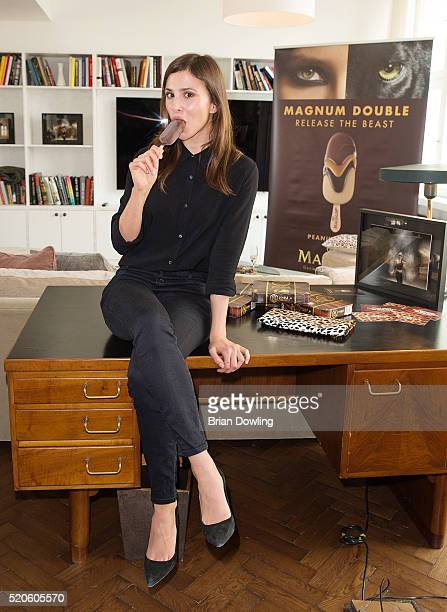 Aylin Tezel poses during a Magnum Double luncheon at Soho House on April 12 2016 in Berlin Germany