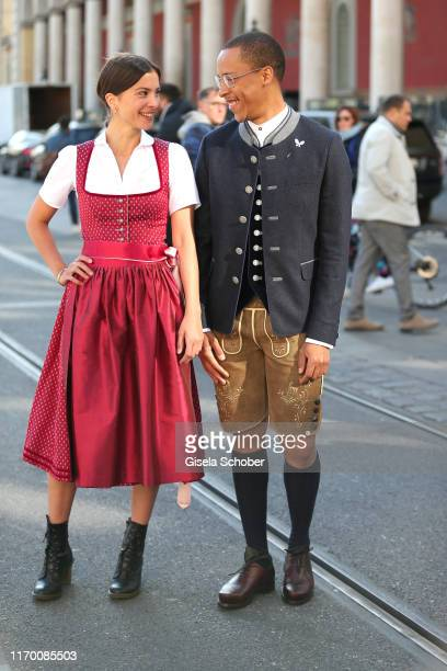 """Aylin Tezel, wearing a Dirndl by Amsel Fashion and Jerry Hoffmann during the """"Breakfast at Tiffany"""" at Tiffany Store ahead of the Oktoberfest opening..."""