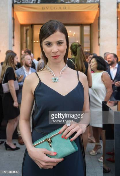 Aylin Tezel wearing Bulgari jewellery attends the Bulgari Boutique on June 1 2017 in Frankfurt am Main Germany