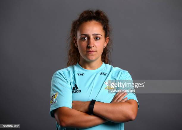 Aylish Cranstone of Surrey Stars poses for a portrait during the Surrey Stars Photo Shoot at the Surrey Cricket Centre on August 7 2017 in Guildford...