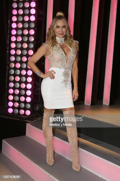 Aylín Mujica poses for photos during the presentation of 'Como Tu No Hay Dos' TV Show at Televisa San Angel on February 19, 2020 in Mexico City,...
