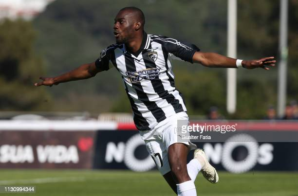 Aylton Boa Morte of Portimonense SC celebrates after scoring the first goal of his team goal during the Liga NOS match between Belenenses SAD and...