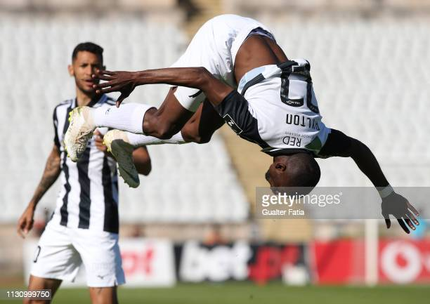 Aylton Boa Morte of Portimonense SC celebrates after scoring the first goal of his team during the Liga NOS match between Belenenses SAD and...