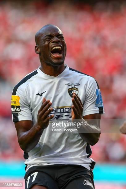 Aylton Boa Morte of Portimonense SC reacts during the Liga Portugal Bwin match between SL Benfica and Portimonense SC at Estadio da Luz on October 3,...