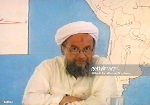 Ayman Al Zawahiri one of Osama bin Laden's lieutenants speaks in this undated still frame from a recruitment video for bin Laden's extremist AlQaeda...