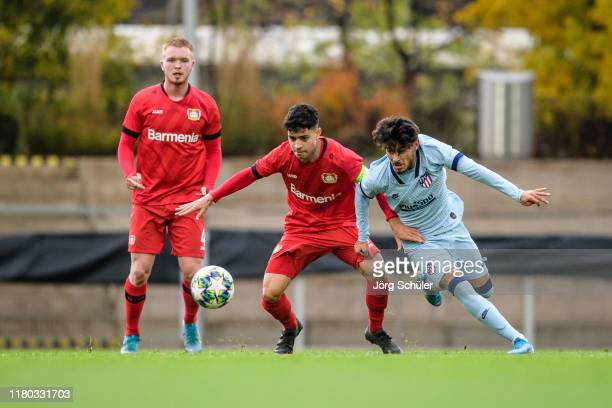 Ayman Azhil of Leverkusen against Alberto Soto Maldonado of Madrid during the UEFA Youth League match between Bayer Leverkusen and Atletico Madrid at...