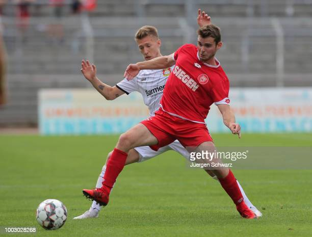 Ayman Azhil of Leverkusen drives the ball during a friendly match at Leimbachstadion on July 21 2018 in Siegen Germany