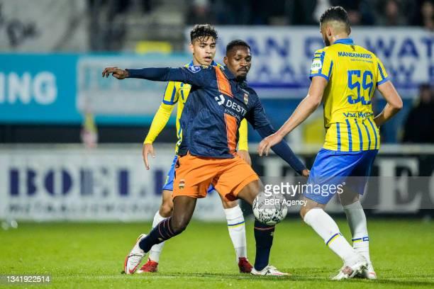 Ayman Azhil of RKC Waalwijk, Elton Kabangu of Willem II and Ahmed Touba of RKC Waalwijk during the Dutch Eredivisie match between RKC Waalwijk and...