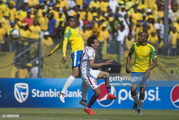 Ayman Hefny of Zamalek in action against Tebogo Langerman of Mamelodi Sundowns during the CAF Champions League match between Mamelodi Sundowns and...
