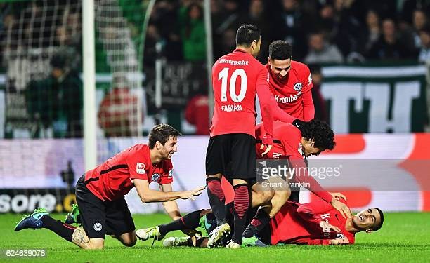 Aymane Barkok of Frankfurt celebrates scoring his goal during the Bundesliga match between Werder Bremen and Eintracht Frankfurt at Weserstadion on...