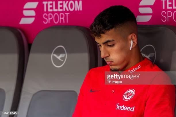 Aymane Barkok of Frankfurt looks on prior to the Bundesliga match between FC Bayern Muenchen and Eintracht Frankfurt at Allianz Arena on April 28...