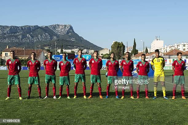 Aymane Hassouni of Morocco U21 Achraf Bencharki of Morocco U21 Saad Ait Khorsa of Morocco U21 Hamza Moussadak of Morocco U21 Badr Benoun of Morocco...