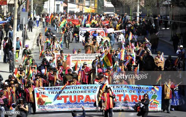 Aymara indigenous peasants 'Ponchos Rojos' supporters of Bolivian President Evo Morales protest against the march of natives of the Amazon lowlands...