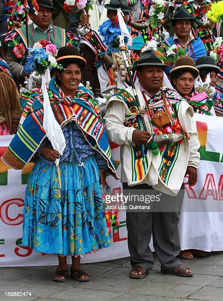 Aymara indigenous people wait for the speech of Evo Morales during the celebration of the third anniversary of the foundation of the Plurinational...