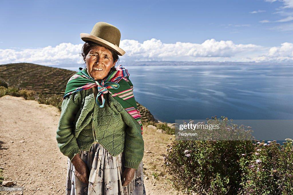 Aymara woman on Isla del Sol, Bolivia : Stock Photo