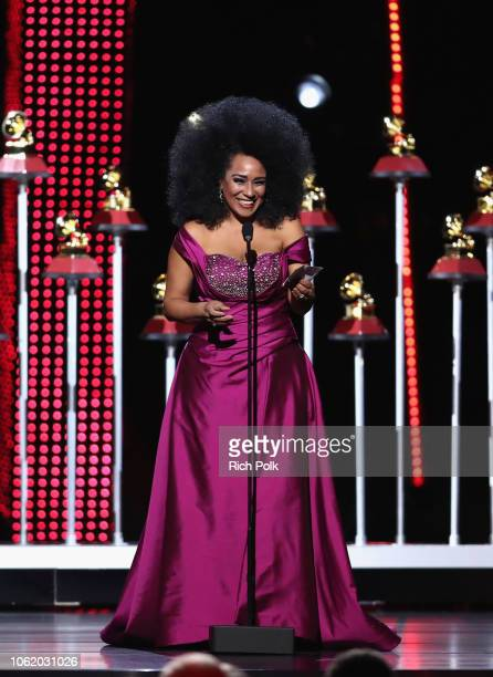 Aymee Nuviola accepts the award for Best Tropical Fusion Album onstage at the Premiere Ceremony during the 19th Annual Latin GRAMMY Awards at MGM...