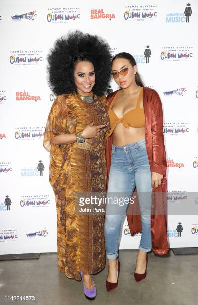 Aymee Nuviola and Paola Guanche Nuviola arrive at a Journey Through Cuban Music at Gibson Studio on May 3 2019 in Miami Florida