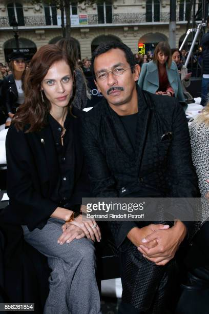 Aymeline Valade and Haider Ackermann attend Le Defile L'Oreal Paris show as part of the Paris Fashion Week Womenswear Spring/Summer 2018 on October 1...