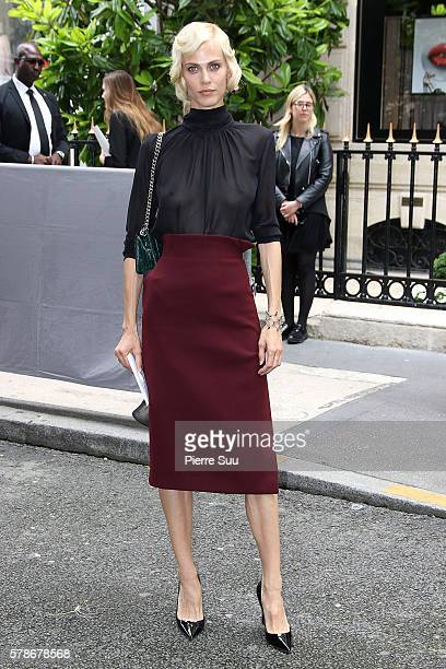 Aymeline Valade arrives at the Christian Dior Haute Couture Fall/Winter 20162017 show as part of Paris Fashion Week on July 4 2016 in Paris France