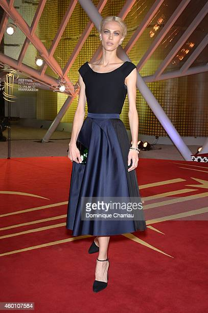 Aymeline Valade arrives on the red carpet for the evening tribute to Viggo Mortensen during the 14th Marrakech International Film Festival on...