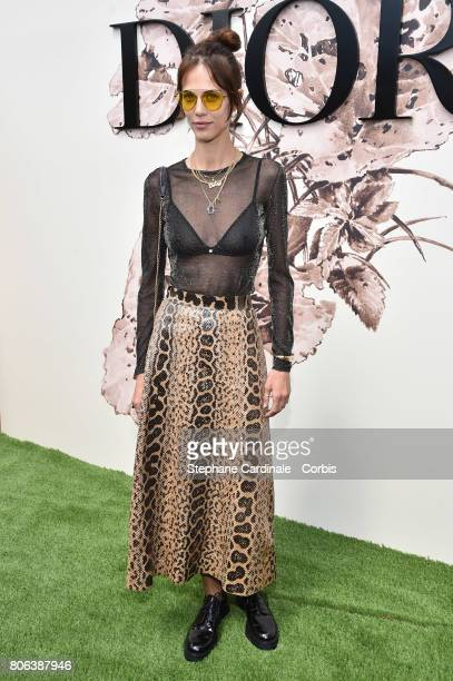 Aymeline Valade attends the Christian Dior Haute Couture Fall/Winter 20172018 show as part of Haute Couture Paris Fashion Week on July 3 2017 in...