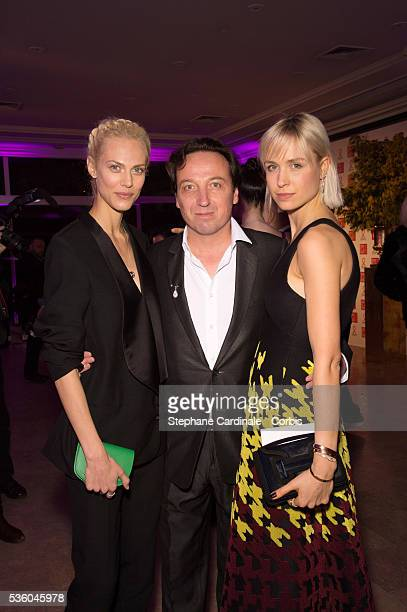 Aymeline Valade Emmanuel Perrotin and AnneSophie Mignaux attend the Sidaction Gala Dinner 2015 at Pavillon d'Armenonville on January 29 2015 in Paris...