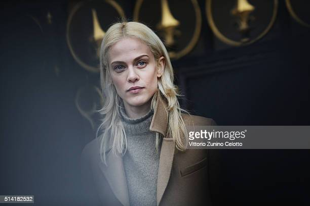 Aymeline Valade is seen arriving at Stella McCartney fashion show during Paris Fashion Week Womenswear Fall Winter 2016/2017 on March 7 2016 in Paris...