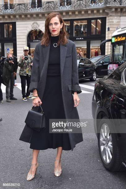 Aymeline Valade is seen arriving at Stella McCartney show during Paris Fashion Week on October 2 2017 in Paris France