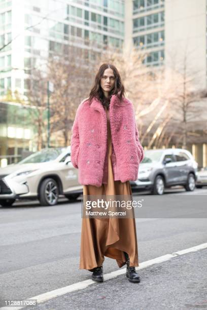 Aymeline Valade is seen on the street during New York Fashion Week AW19 wearing Sies Marjan on February 10 2019 in New York City