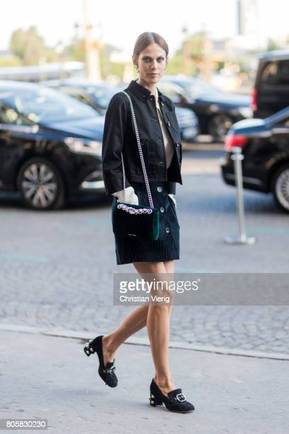 Aymeline Valade outside Miu Miu Cruise Collection during Paris Fashion Week Haute Couture Fall/Winter 20172018 Day One on July 2 2017 in Paris France