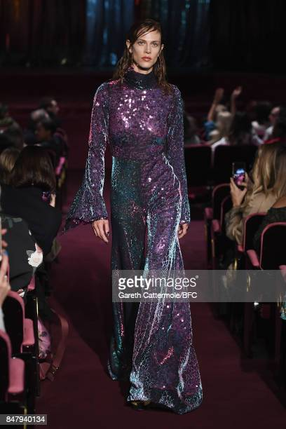 Aymeline Valade walks the runway at the Halpern show during London Fashion Week September 2017 on September 16 2017 in London England
