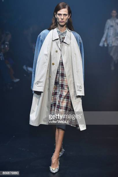 Aymeline Valade walks the runway during the Balenciaga Ready to Wear Spring/Summer 2018 fashion show as part of the Paris Fashion Week Womenswear...