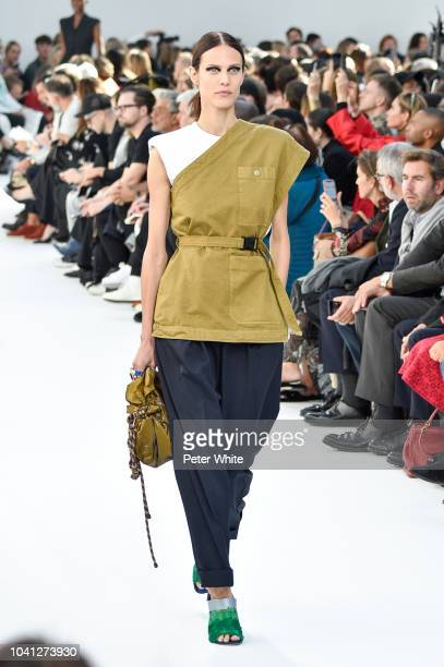 Aymeline Valade walks the runway during the Dries Van Noten show as part of the Paris Fashion Week Womenswear Spring/Summer 2019 on September 26 2018...
