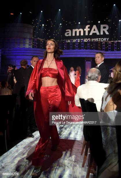 Aymeline Valade wearing FRS by Francesca Ruffini walks the runway in the fashion show during the amfAR Gala Cannes 2017 at Hotel du CapEdenRoc on May...