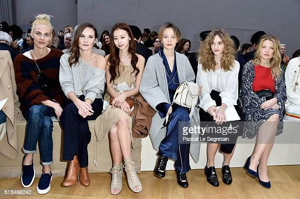 Aymeline ValadeAna GirardotNatalie WuDiane RouxelNoemie Scmidt and Melanie Thierry attend the Chloe show as part of the Paris Fashion Week Womenswear...