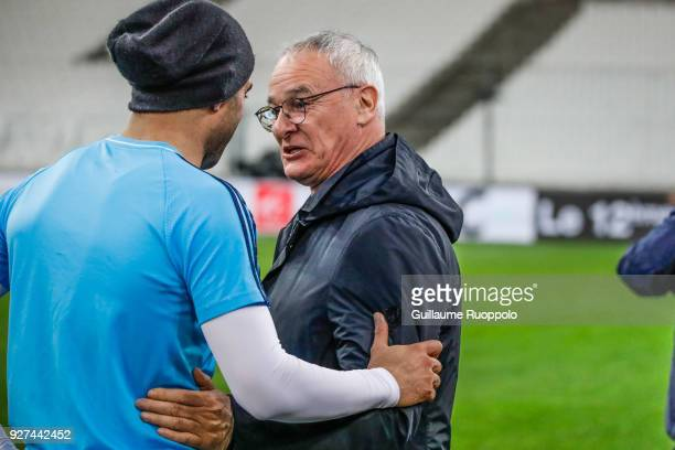 Aymen Abdennour of Marseille and Claudio Ranieri coach of Nantes during the Ligue 1 match between Olympique Marseille and Nantes at Stade Velodrome...